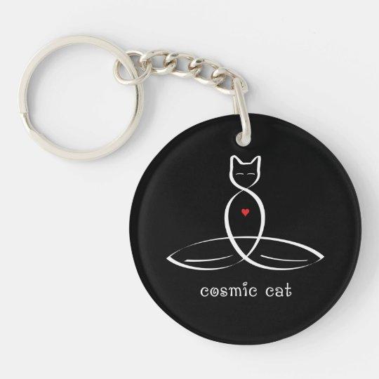 Cosmic Cat - Fancy style text. Keychain