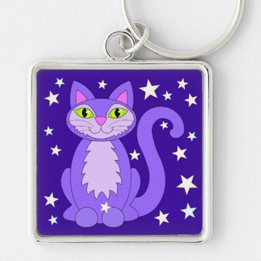 Cosmic Cat Green Eyes Kitty Stars Midnight Blue Key Chain