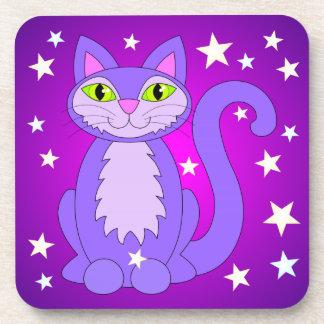Cosmic Cat Green Eyes Smiling Purple Kitty Stars Coaster