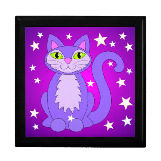 Cosmic Cat Green Eyes Smiling Purple Kitty Stars Gift Box
