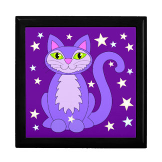 Cosmic Cat Green Eyes Smiling Purple Kitty Stars Jewelry Box