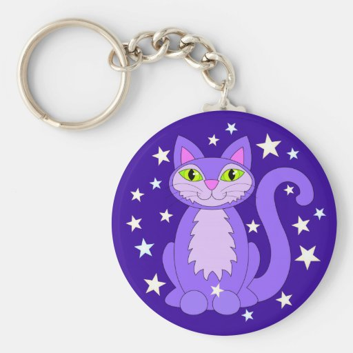 Cosmic Cat Smiling Kitty Stars Midnight Blue Keychain