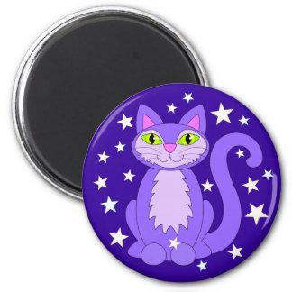 Cosmic Cat Smiling Kitty Stars Midnight Blue Magnet