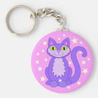 Cosmic Cat Smiling Purple Kitty Stars Pink Keychain