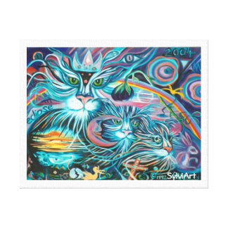 COSMIC CATS wrapped canvas print- ©2002 SylviART