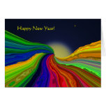 Cosmic Color Rivers Abstract New Years Card