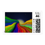 Cosmic Color Rivers Abstract Postage