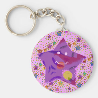 Cosmic Colored Stars on Pink Background Keychains