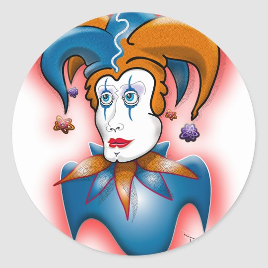 Cosmic Court Jester Classic Round Sticker