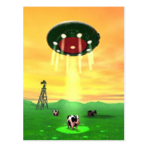 Cosmic Cow Abduction Postcard