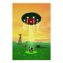 Cosmic Cow Abduction Poster