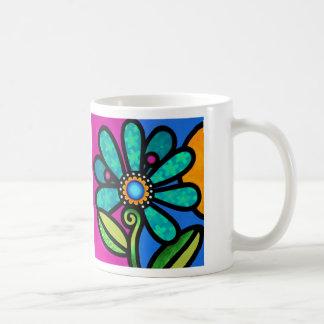 Cosmic Daisy in Aqua Coffee Mug