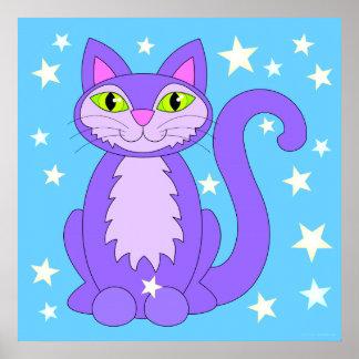 Cosmic Design Cat Stars Cartoon Kitty Blue Poster