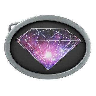 Cosmic diamond oval belt buckle