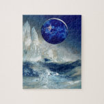 """Cosmic Earth at Night and Thomas Moran Iceberg Jigsaw Puzzle<br><div class=""""desc"""">The sight of Planet Earth from space is aglow with the night-time lights from thousands of cities around the world. This modern image is juxtaposed with a pastel drawing inspired by a drawing of icebergs by 19th Century artist Thomas Moran. For Earth Day or every day, this cosmic, fantasy design...</div>"""
