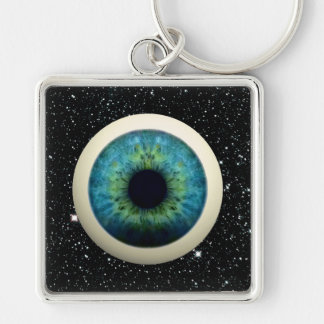 COSMIC EYE (A great novelty item!) ~ Silver-Colored Square Keychain