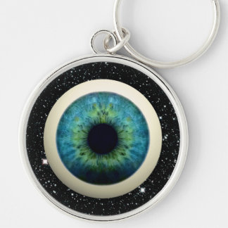 COSMIC EYE (A great novelty item!) ~ Silver-Colored Round Keychain