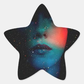 cosmic face in the infinite universe star sticker