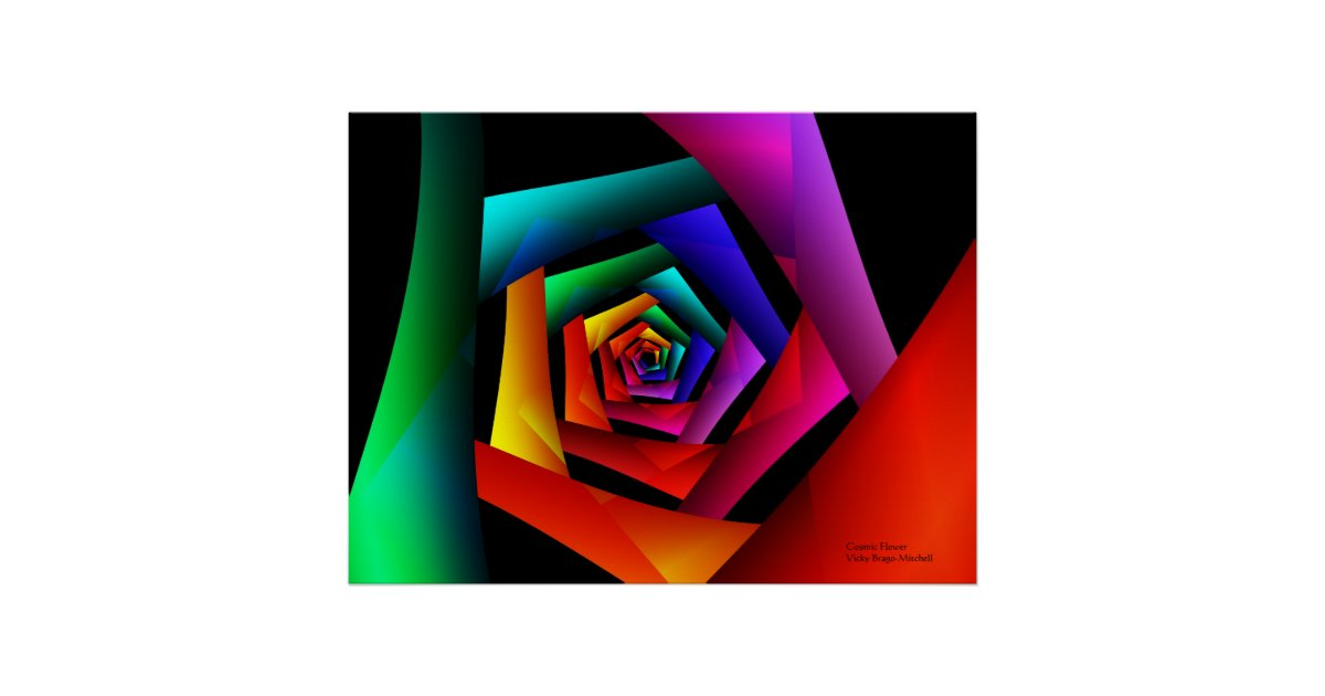 Cosmic flower cute cool modern abstract art poster zazzle for Cute abstract art