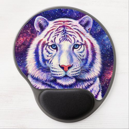 Cosmic Galaxy White Tiger Gel Mouse Pad
