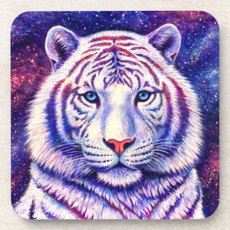 Cosmic Galaxy White Tiger Plastic Coasters