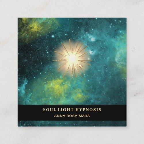 Cosmic Healing Universe Energy Sun Burst Stars Square Business Card