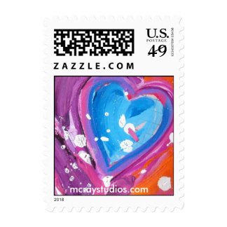 """""""Cosmic Heart #1"""" Postage Stamps"""