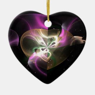 Cosmic Heart Double-Sided Heart Ceramic Christmas Ornament