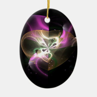 Cosmic Heart Double-Sided Oval Ceramic Christmas Ornament