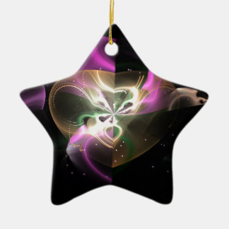Cosmic Heart Double-Sided Star Ceramic Christmas Ornament