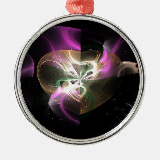Cosmic Heart Round Metal Christmas Ornament