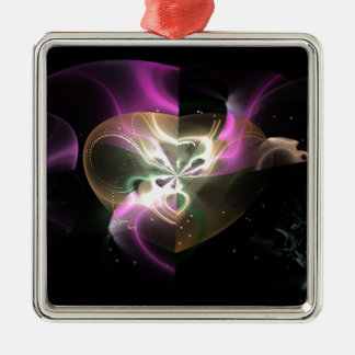 Cosmic Heart Square Metal Christmas Ornament