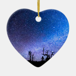 Cosmic Kind Of Night Double-Sided Heart Ceramic Christmas Ornament