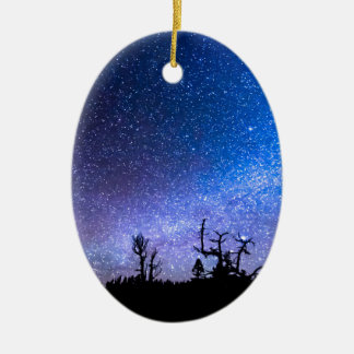 Cosmic Kind Of Night Double-Sided Oval Ceramic Christmas Ornament