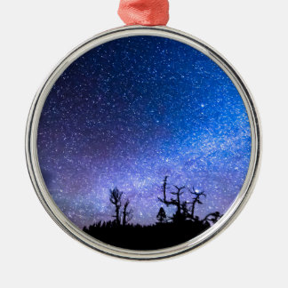 Cosmic Kind Of Night Round Metal Christmas Ornament