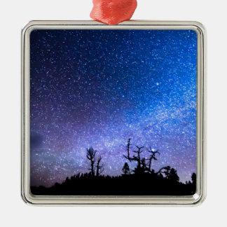 Cosmic Kind Of Night Square Metal Christmas Ornament