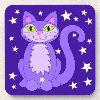 Cosmic Kitty Cartoon Cat Stars Coasters