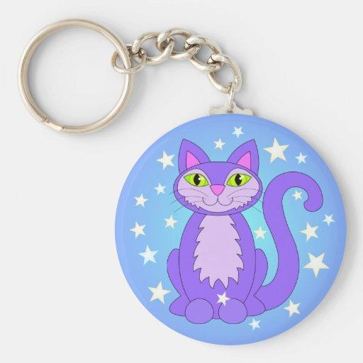 Cosmic Kitty Cat Stars Blue Hues Key Chain