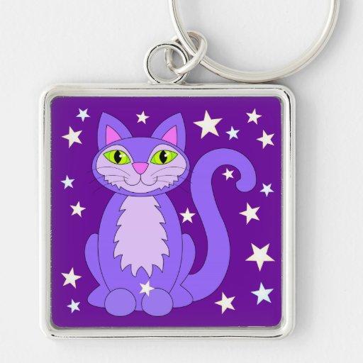Cosmic Kitty Cat Stars Purple Keychain