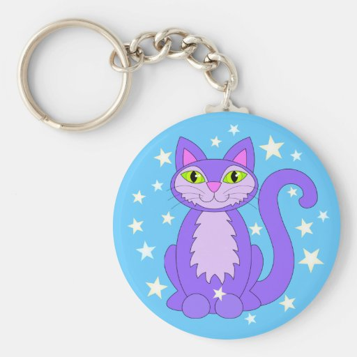 Cosmic Kitty Cat Stars Sky Blue Keychain