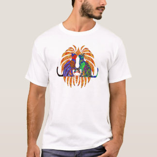 Cosmic Kitty Cats Kiss Under Fronds T-Shirt