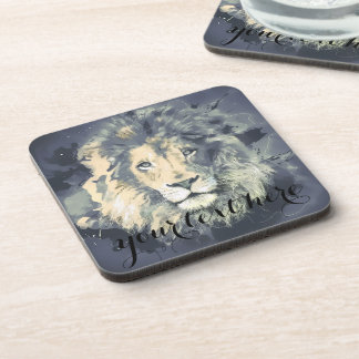 COSMIC LION KING | Hard Plastic coasters with cork