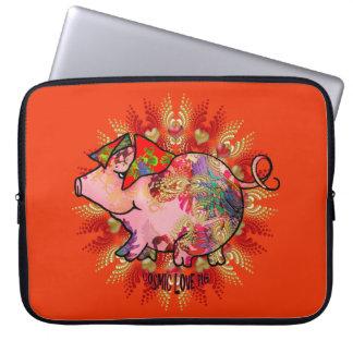 Cosmic Love Pig Laptop Sleeve