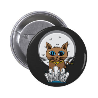 Cosmic Moon Cat - Blue - Round Button