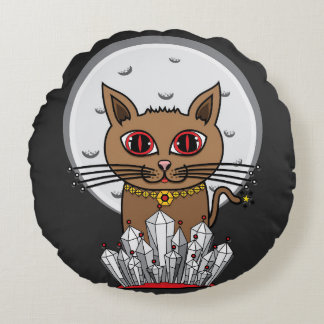 Cosmic Moon Cat - Red Round Pillow