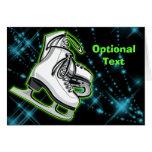 Cosmic Neon Ice Skates - Customizable Greeting Card