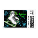 Cosmic Neon Ice Skates - Customizable Postage Stamps