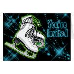 Cosmic Neon Ice Skates Invitation Greeting Card