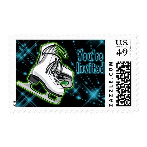 Cosmic Neon Ice Skates Invitation Stamps