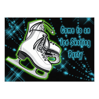 Cosmic Neon Ice Skates Party Announcements